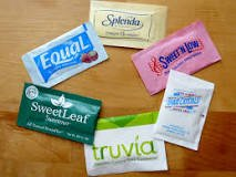 Packets of various sugar substitutes