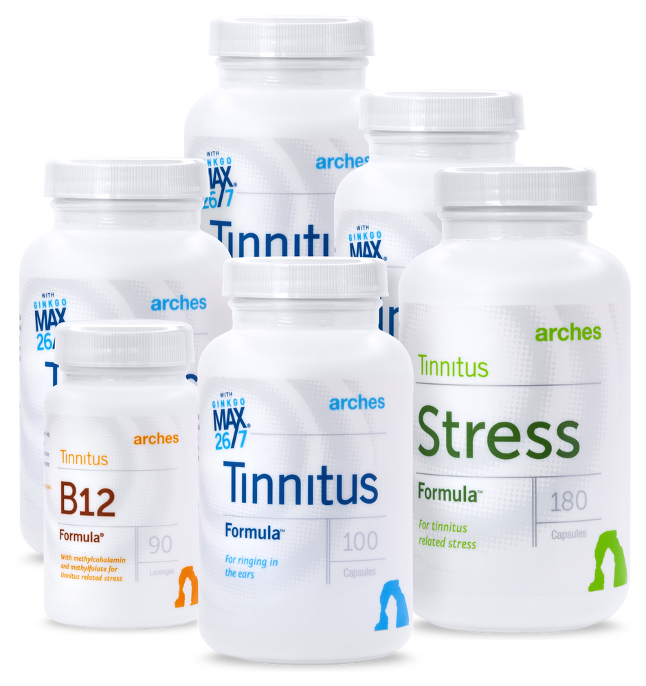 Arches Tinnitus Combo Pack: 90 days of Tinnitus Formula, Stress Formula and B12 Formula.